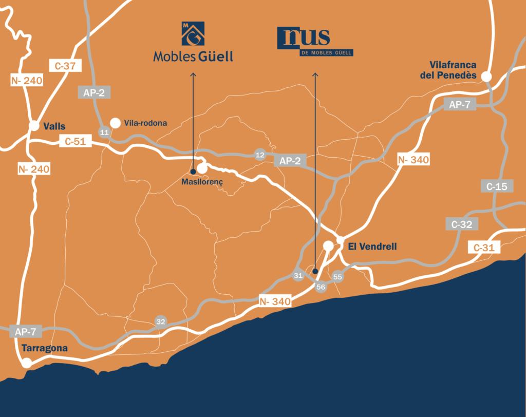 Mapa de localització de Mobles Güell