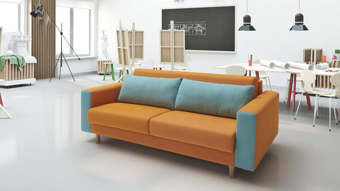 imatge d'un sofà bicolor de la marca suinta