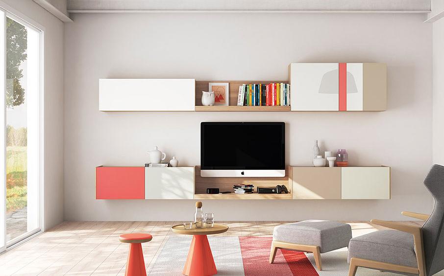 imatge menjador amb mobles colorits de la marca vive